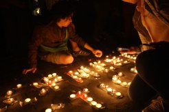 candle lighting outside the venue