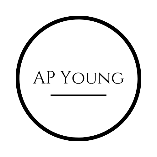 Black and white logo simple text that reads AP Young. Affordable makeup brand.
