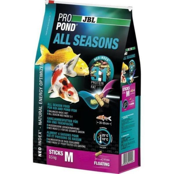 JBL ProPond All Seasons корм для карпов Кои и прудовой рыбы всесезонный М, 5.8 кг