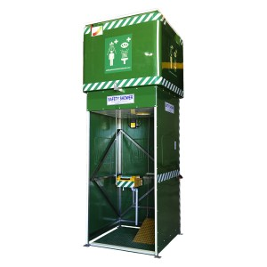 Tank-fed safety showers are ideal for remote locations such as water treatment plants.