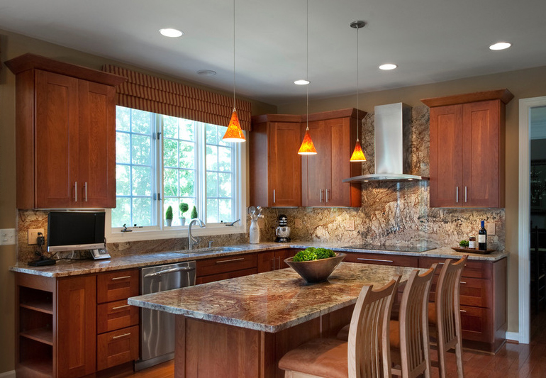 Typhoon Bordeaux granite - Nature's Piece of Art in a Kitchen on What Color Granite Goes With Maple Cabinets  id=54401