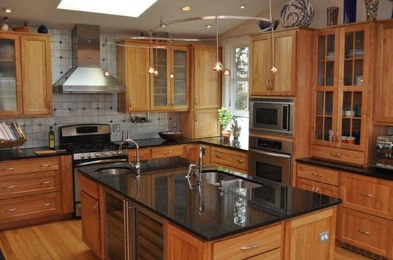 Black Granite Countertops Styles, Tips, VIDEO + INFOGRAPHIC on Maple Kitchen Cabinets With Black Granite Countertops  id=24451