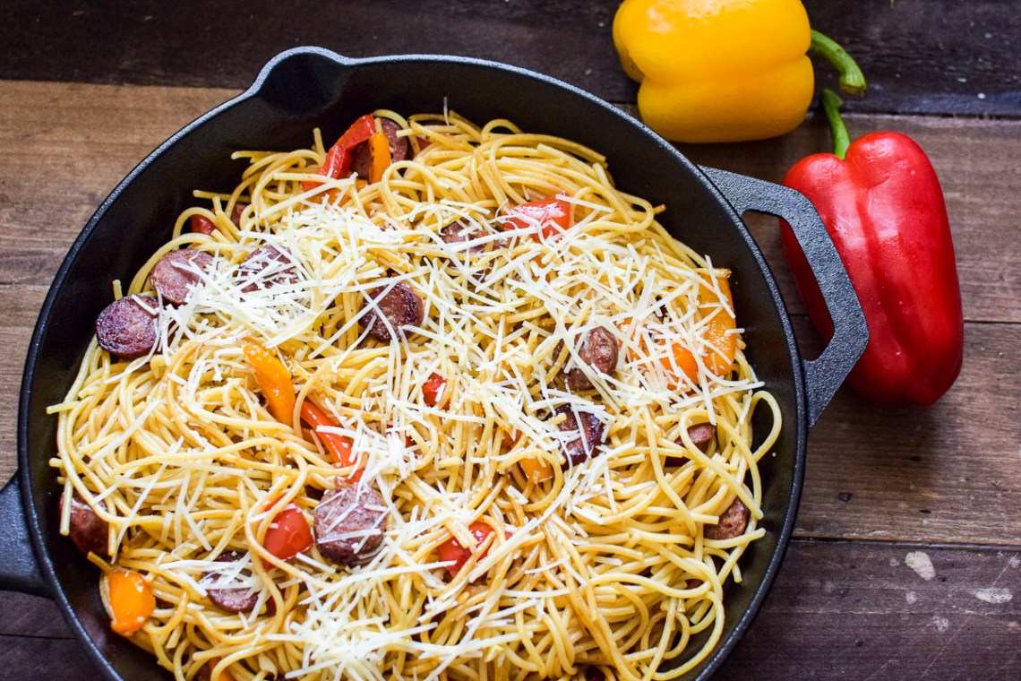 sausage and peppers pasta in a pan