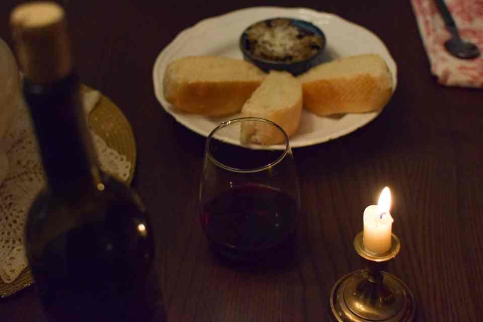 wine, candle and eggplant puree