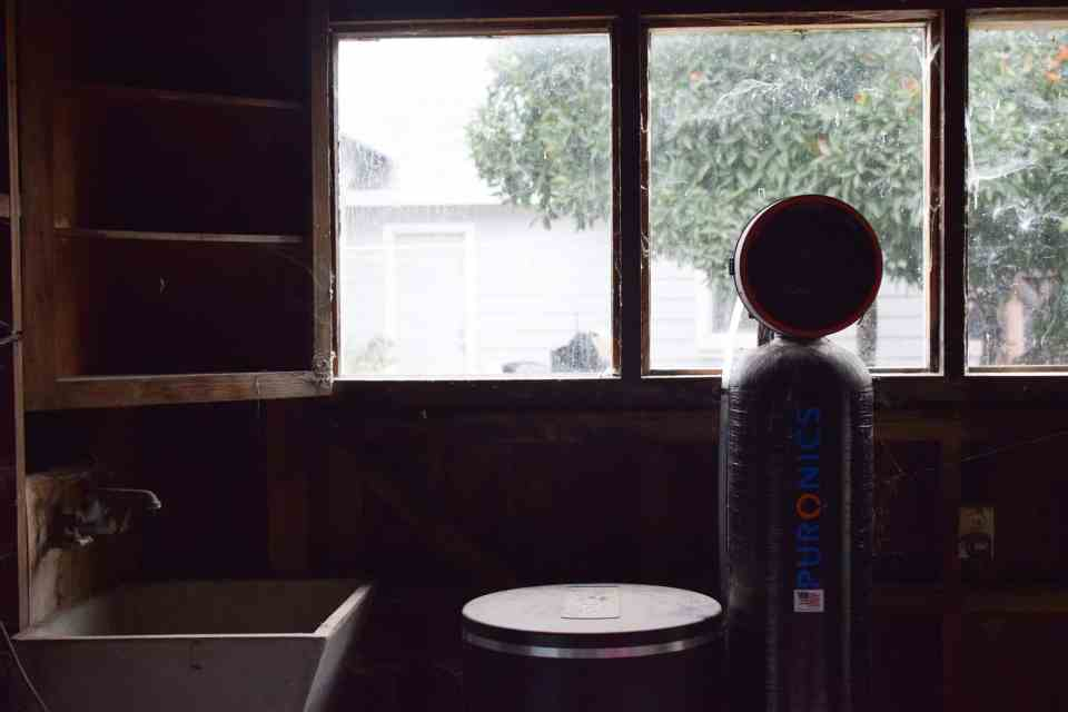 a view from a window in the garden shed