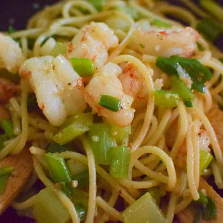 pasta tossed with green onion and shrimp