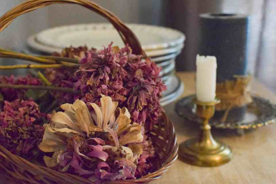 prepping for fall with drying flowers on a table