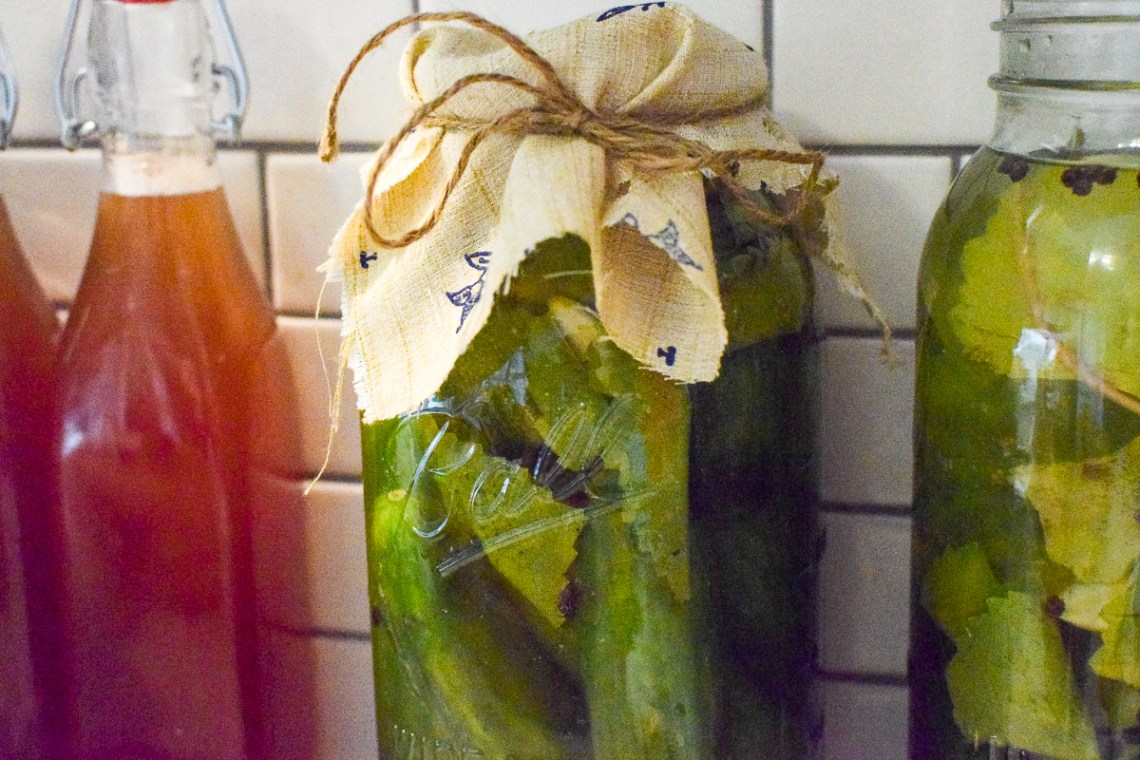 lacto fermented pickles in a mason jar