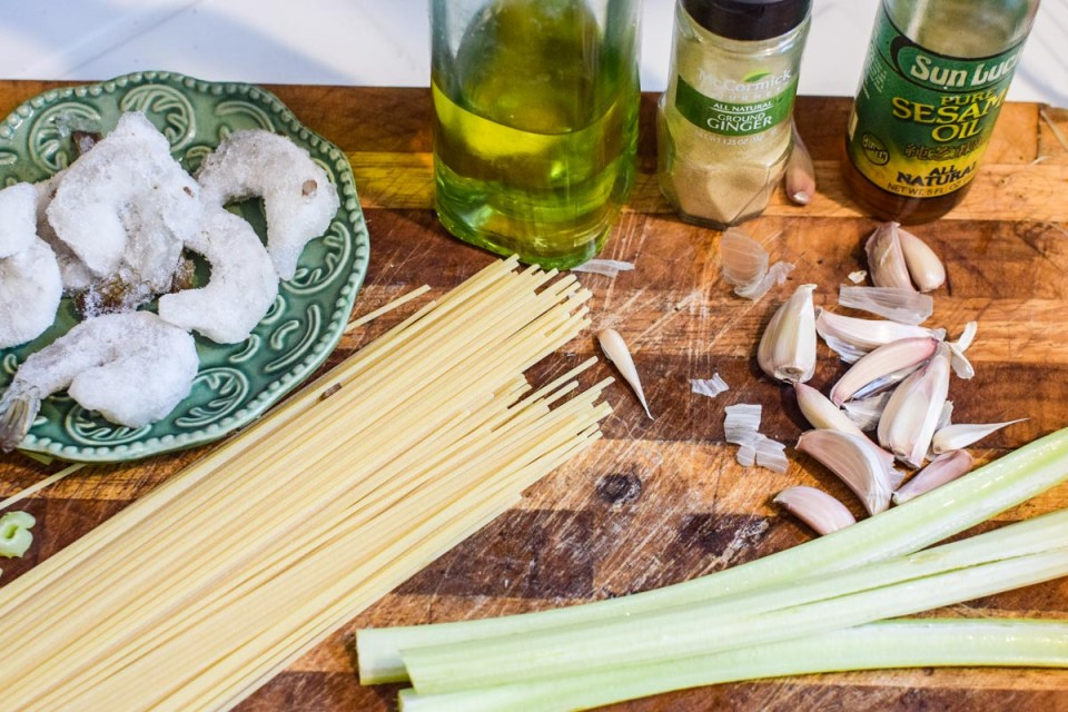 ingredients for asian inspired noodles on a butcher block