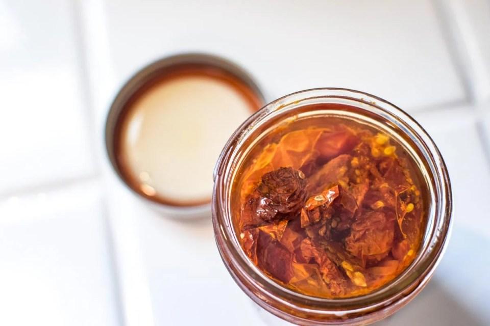 sun dried tomatoes in a mason jar