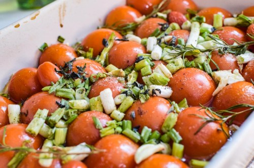 simple tomato confit in a baking dish