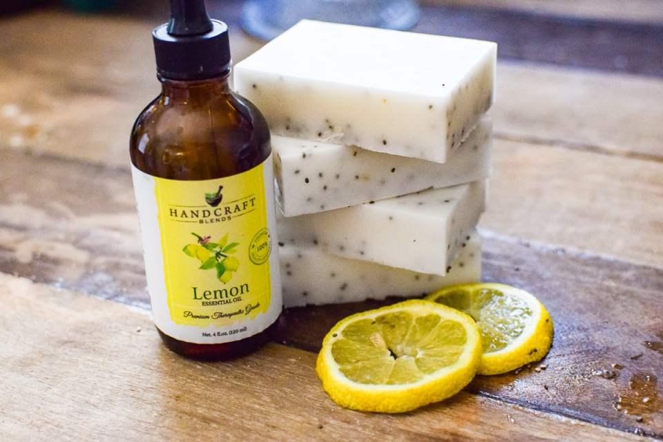 lemon chia seed soap bars