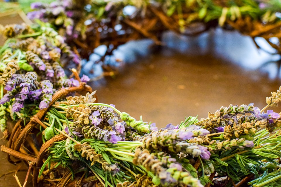 lavender wreath on a table