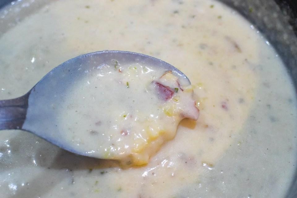 simple potato soup in a pot