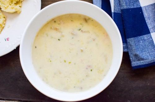 simple potato soup in a white bowl