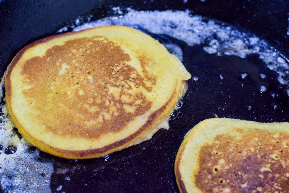 homemade pumpkin pancakes in a grill pan