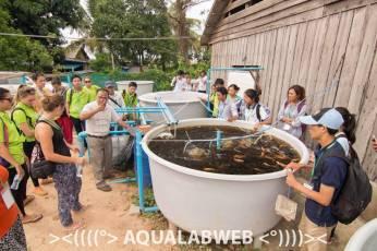 Dean Mr. Borin explains the principles of the aquaponics.
