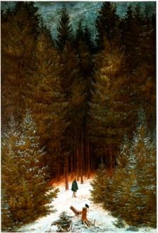 Friedrich Caspar David, Chasseur dans la forêt, 1814, Huile sur toile, 65,7 × 46,7 cm, Collection privée, image dispoinble sur wikimedia commons
