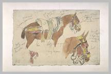 Delacroix Eugène, Etude de cheval harnaché Aquarelle, H. en m 0,185 ; L. en m 0,120, Département des arts Graphiques du Musée du Louvre © Réunion des musées nationaux - Base Joconde