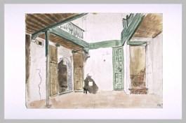 Delacroix Eugène, Une cour à Tanger, 1832, Aquarelle et mine de plomb, H. 00,210 m ; L. 00,180 m © Musée du Louvre, Département des Arts graphiques, RMN