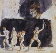 Eugène Delacroix (1798-1863), Dante parmi les ruffians et les séducteurs, Aquarelle, peinture, crayon noir, 1819-1822, 12,6 x 23,2 cm, Vienne, Graphische Sammlung Albertina