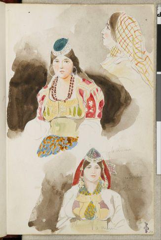Delacroix Eugène, aquarelle de l'Album de voyage (Espagne, Maroc, Algérie, janvier-juin 1832) : tête de jeune femme, de face, la chevelure à demi-couverte d'un bonnet, avec des boucles d'oreille ; en bas, une autre personne en buste, de même ; en haut, femme coiffée d'un foulard quadrillé, de trois-quarts arrière, 1832, Mine de plomb et aquarelle sur papier, H. 19.4 ; L. 12.7, Domaine de Chantilly, Musée Condé, Chantilly © RMN (Domaine de Chantilly) - René-Gabriel Ojéda
