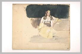 Delacroix Eugène, Jeune femme juive assise, 1832, Aquarelle et légers rehauts de gouache, sur traits à la mine de plomb, restauré en 1998, H. en m 0,237 ; L. en m 0,295 © Musée du Louvre, Département des Arts graphiques