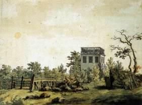 Friedrich Caspar David, Paysage avec pavillon, 1797, aquarelle, encre de chine et plume, 0,177 x 0,217 cm, Kunsthalle Hambourg, Allemagne - image wikicommons