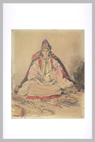 Delacroix Eugène, Mariée juive à Tanger, 1832, Aquarelle et mine de plomb, H. 00,285 m ; L. 00,232 m © Musée du Louvre, Département des Arts graphiques, RMN
