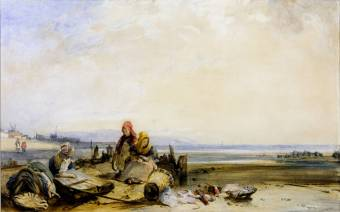 Richard Parks Bonington, Scene sur la côte française, aquarelle, 1825, 213x342mm, Tate Gallery, disponible sur http://www.tate.org.uk/art/artworks/bonington-a-scene-on-the-french-coast-t03857 (consulté le 29/03/13)