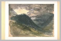 Delacroix Eugène, Montagnes par temps sombre et brumeux, 1845, Restauré en 2004, H. 00,175 m ; L. 00,243 m, Département des arts graphiques, Musée du Louvre, Paris © Musée du Louvre, Département des Arts graphiques, RMN