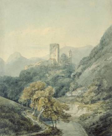 Joseph Mallord William Turner, In the Grisons, after J.R. Cozens, vers 1794-7, Watercolour, graphite and pen and ink on paper, 233 x 192 mm, The Ashmolean Museum, Oxford, Turner Worldwide © The Ashmolean Museum, Oxford