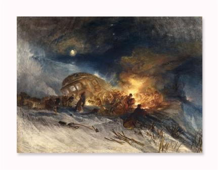 Turner Joseph Mallord William , Messieurs les Voyageurs on their return from Italy (par la diligence) in a snow drift upon Mount Tarrar. 22 janvier 1829, 1829, aquarelle gouachée, 0,545 x 0, 747 m, British Museum, Londres, Royaume-Uni (C) Diffusion en Europe sauf Royaume-Uni et Irlande - The British Museum, Londres, Dist. RMN-Grand Palais / The Trustees of the British Museum