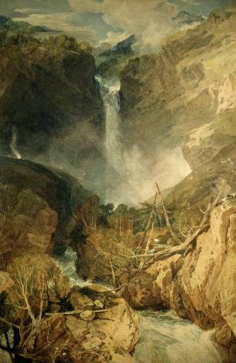 Joseph Mallord William Turner, The Great Fall of the Reichenbach, in the Valley of Hasle, Switzerland, exhibited 1804, Watercolour on paper, 1022 x 689 mm © Trustees of the Cecil Higgins Art Gallery, Bedford, England