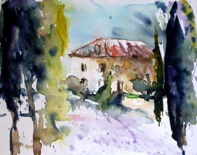 Toskana Haus und Zypressen
