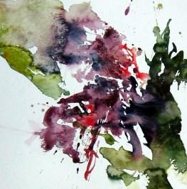 aquarell, abstrakt, landschaft, tal