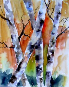 aquarell, bach, bäume, wald, waldviertel, niederösterreich, birken