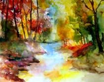 aquarell, thaya, retzerland, hardegg, herbst, fluss, bach, watercolor, autumn, fall, river, creek
