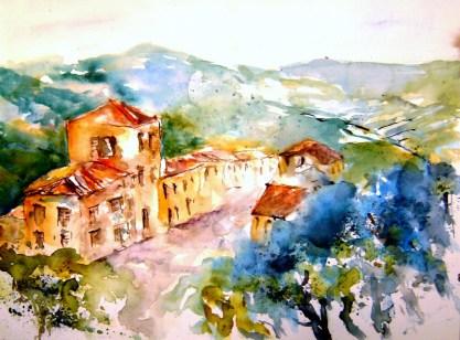 aquarell, toscana, toskana, montepulciano
