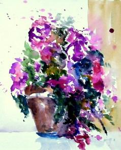 aquarell, blumen, topf, blumentopf, watercolor, flowers, pot