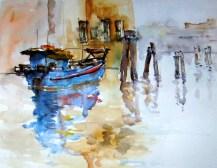 aquarell, Italien, Chioggia, Boot, watercolor, Italy, boat
