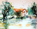 aquarell, haus, gebäude, see, brücke, watercolor, building, house, pond, bridge