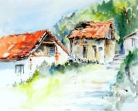 aquarell, watercolor, waldviertel, fronsburg, altes haus, scheune, schuppen, barn