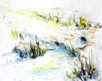 aquarell, watercolor, waldviertel, pleissing, bach, prutzenbach, kanal, creek