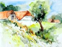 aquarell, watercolor, aquarelle, zellerndorf, maulavern, hintaus, weinviertel, presshäuser, wine, houses, vine, maison, dächer, roofs, toitures, toits