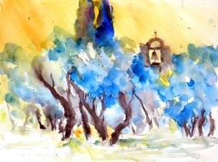 aquarell, watercolor, aquarelle, bäume, trees, arbres, landschaft, landscape, paysage, olivenbäume, olive trees, olivier, morgen, morning, matin, italien, italy, italie, toskana, tuskany, toscane, montemarciano