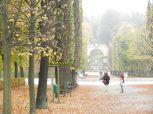 aquarell, watercolor, aquarelle, schloss, castel, palace, château, bäume, trees, arbres, park, parc, brunnen, fountain, fontaine, schönbrunn,