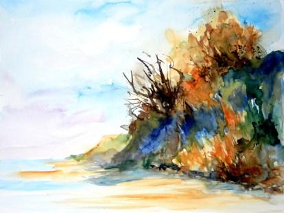 aquarell, watercolor, aquarelle, abhang, slope, pente, küste, coat, shore, cote, steilküste, cliff, cliff line, bluff, falaise, ostsee, baltic, baltique, rügen