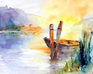 aquarell, watercolor, aquarelle, boot, boat, bateau, sonnenuntergang, sunset, sundown, coucher du soleil, donau, danube,