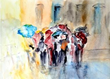 aquarell, watercolor, aquarelle, sightseeing, Normandie, regen, rain, pluie,
